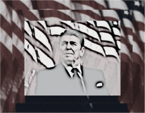 Reagan granulated and refracted and black and white