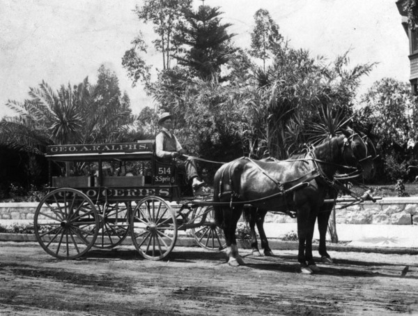 00066406_A horse-drawn delivery wagon of George A. Ralphs Groceries-thumb-600x453-47495