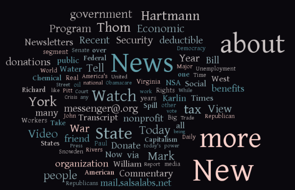 Truthout word cloud