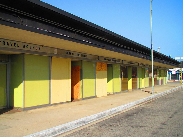 Valley Plaza storefronts today, all boarded up | Steve Devol/flickr/Creative Commons