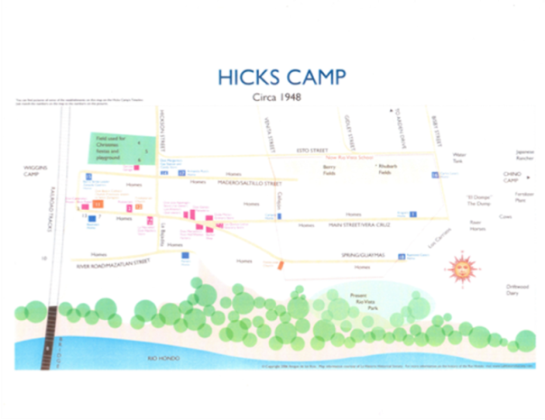 Map of Hicks Camp, Courtesy of La Historia Society of El Monte California