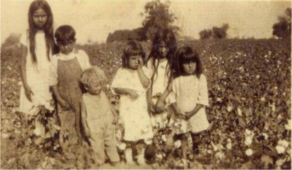 Mexican children in a field