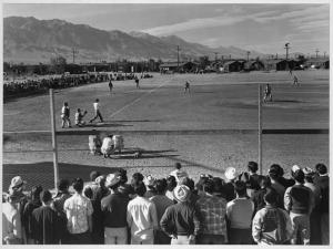 Baseball game at Manzanar War Relocation Center | Photo: Ansel Adams, courtesy of the Library of Congress