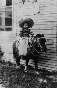 Sammy Lee in costume and on a photographers pony. ca. 1928 | Image: Courtesy of Los Angeles Public Library