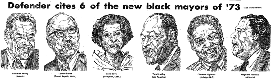 1974 - Defender cites 6 of the new black mayors of '73