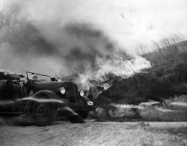 Fire truck is shown battling a fresh blaze that broke out near Malibu, 1943 | Herald-Examiner Collection, Courtesy of the Los Angeles Public Library