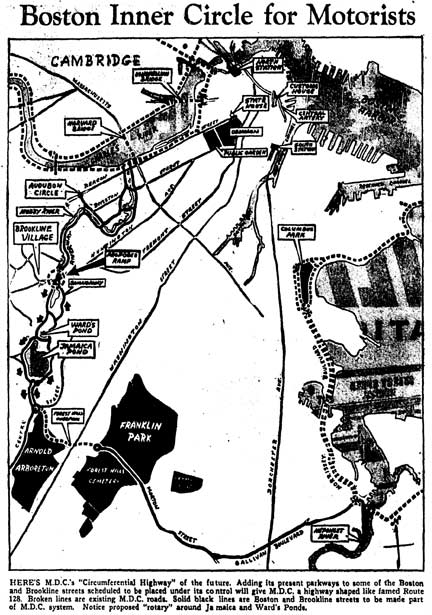 The Inner Circle Plan for Boston by the Metropolitan District Commission circa 1950s