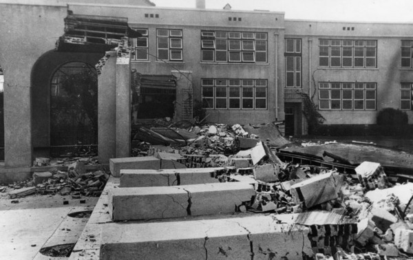 Compton Union High School after the earthquake of March 10, 1933 | Security Pacific National Bank Collection, Los Angeles Public Library
