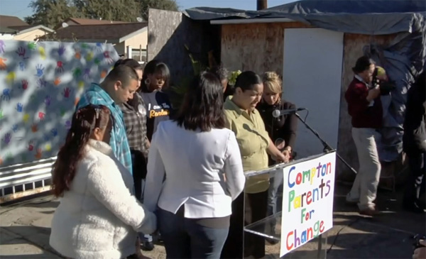 Parents of McKinley Elementary School demand that Compton Unified honors the parent trigger policy, in 2011 | Still frame from 'We the People' documentary