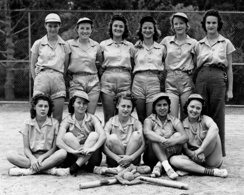 Women's softball team, part of the American Legion Softball League in Wilmington, 1939 | Security Pacific National Bank Collection, Los Angeles Public Library