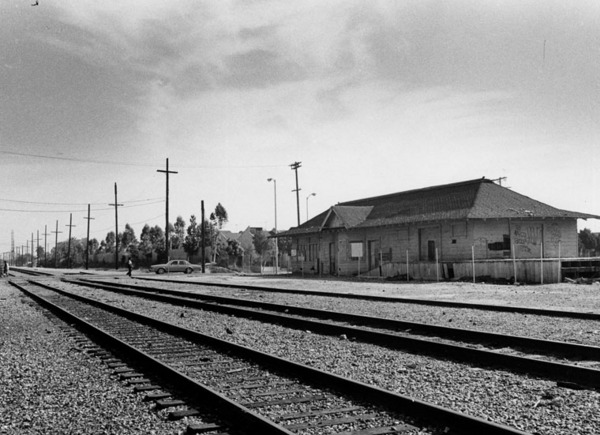 Watts Station served the Long Beach Line of the Pacific Electric Railway Company. The Blue Line operates on the old Pacific Electric right of way | Photo: Security Pacific National Bank Collection, Los Angeles Public Library