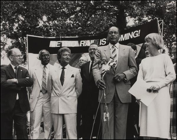 Kenneth Hahn, Nate Holden, Nick Patsaouras, Deane Dana, Mayor Tom Bradley. Metro Rail Groundbreaking, September 29, 1986 | Photo: Metro Library and Archive/Flickr/Creative Commons