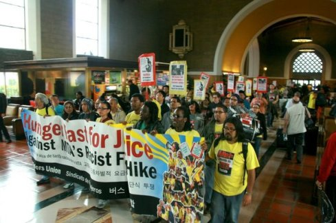 Bus Riders Union protest against fare hikes at Union Station, 2010 | Photo: Bus Riders Union Facebook