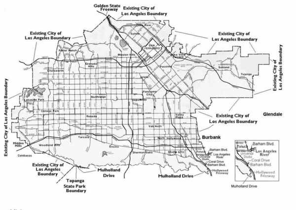 Map of proposed San Fernando Valley Secession | Image: LA Almanac/Valley VOTE