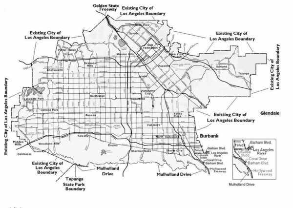 Map of proposed San Fernando Valley Secession   Image: LA Almanac/Valley VOTE