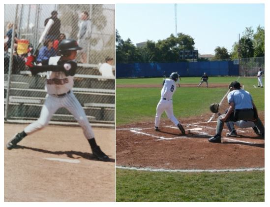 Left: Author at-bat for Southern California Bombers in 2001; Right: Author at-bat for Pomona-Pitzer Sagehens in 2009: