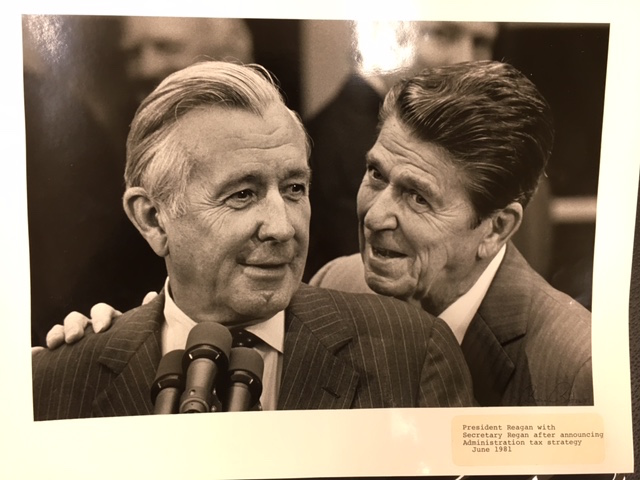 President Ronald Reagan and Secretary of Treasury Donald T. Regan circa 1981 courtesy of Donald T. Regan Papers, Manuscript Division, Library of Congress, Washington D.C.