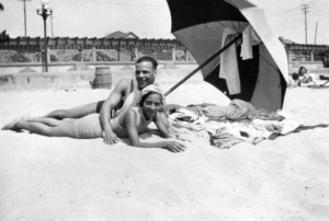 "Caption reads: ""Verna and Sidney in the segregated section of Santa Monica beach known as the Ink Well."" 