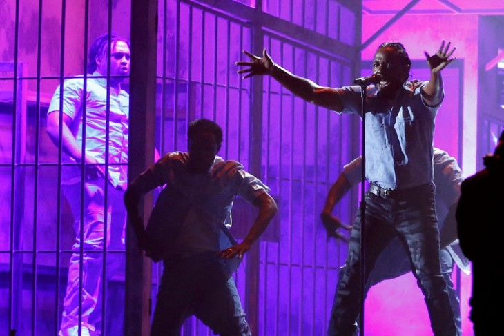Kendrick Lamar performs a medley of songs at the 58th Grammy Awards in Los Angeles