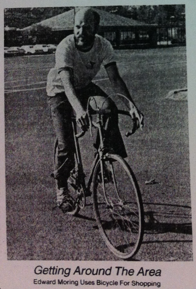 Edward Moring uses his bicycle to shop