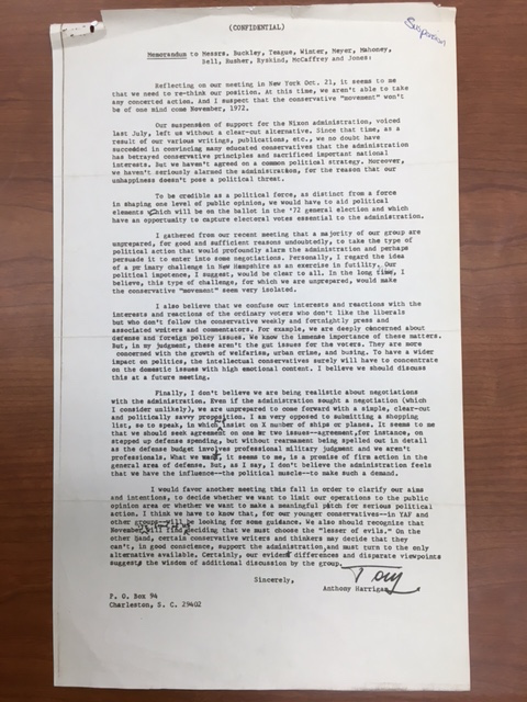 Harrigan, Confidential Memorandum to Manhattan 12, circa October/November 1972, William A. Rusher Papers, Manuscript Division, Library of Congress.