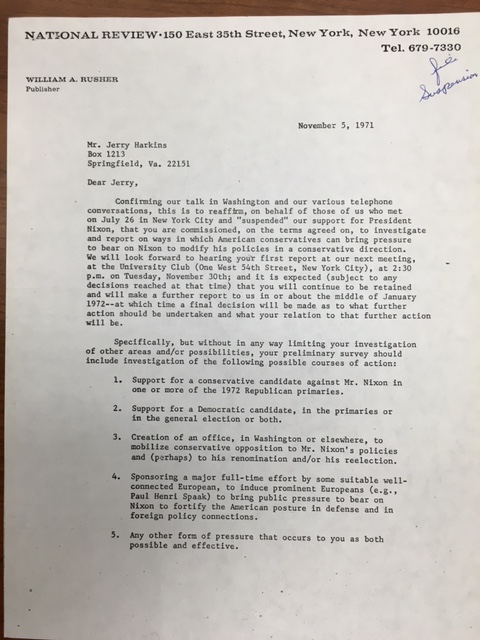 William A. Rusher, Letter to Jerry Harkins, November 5, 1971, Box 167, William A. Rusher Papers, Manuscript Division, Library of Congress