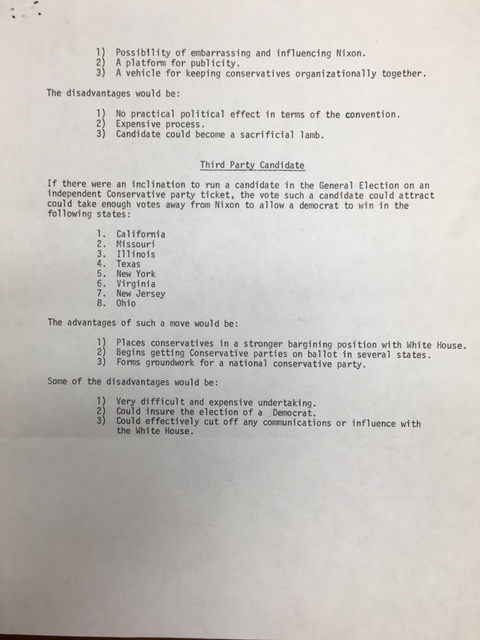 """Analysis of Conservative Possibilities in 1972"", William A. Rusher Papers, Manuscript Division, Library of Congress"