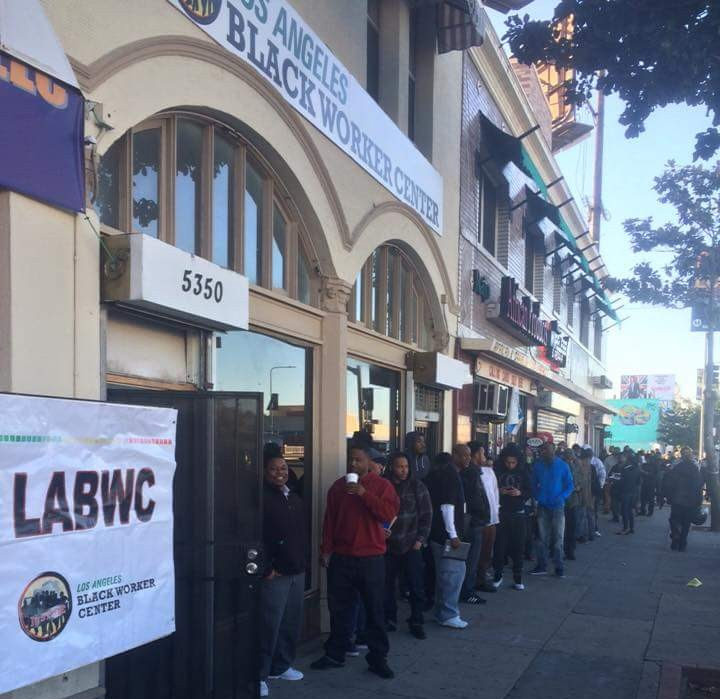 In early February of this year, approximately 300 workers waited to to learn about pre-apprenticeship training, union building, construction trades apprenticeship programs, and career opportunities. Photo courtesy of the Los Angeles Black Worker Center (LABWC).