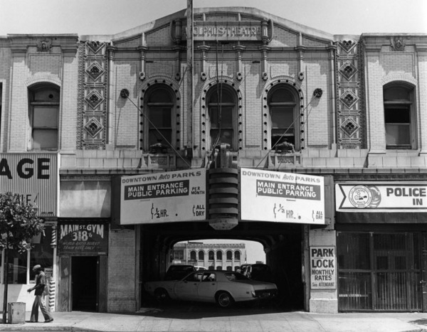 Main Street Gym, formerly the Adolphus Theater, in downtown Los Angeles, 1979   Photo: William Reagh Collection, Los Angeles Public Library