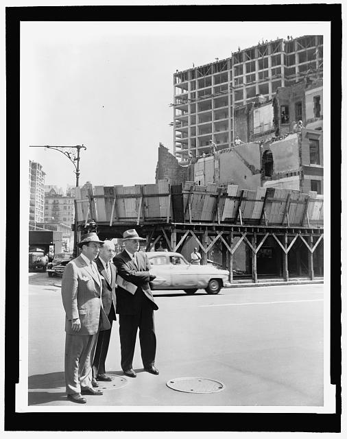 "Walter Albertin, ""Mayor Robert Wagner (r) joined by Robert Moses (l) and Frank Meistrell (c) on a housing project tour, August 9, 1956, New York World Telegraph and Sun Collection, Prints and Photographs Division, Library of Congress"
