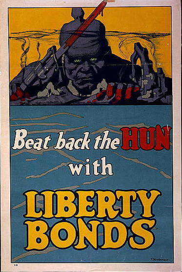 """James Allen St. John, """"The Hun - His mark - Blot it out with Liberty Bonds"""", 1917, World War One Posters, Prints and Photographs Division, Library of Congress"""