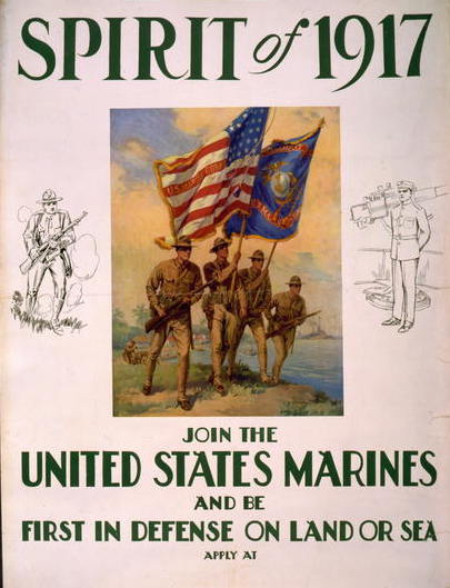 Spirit of 1917--Join the United States Marines and be first in defense on land or sea, circa 1917, World War One Posters, Prints and Photographs Division, Library of Congress