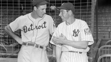 "Greenberg and DiMaggio (photo courtesy of the ""Chasing Dreams"" exhibition)"