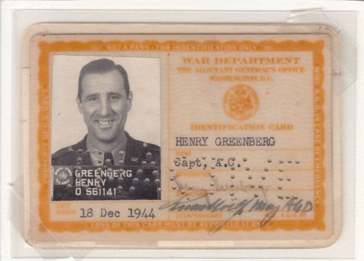 "Hank Greenberg's military ID (from the ""Chasing Dreams"" exhibition)"