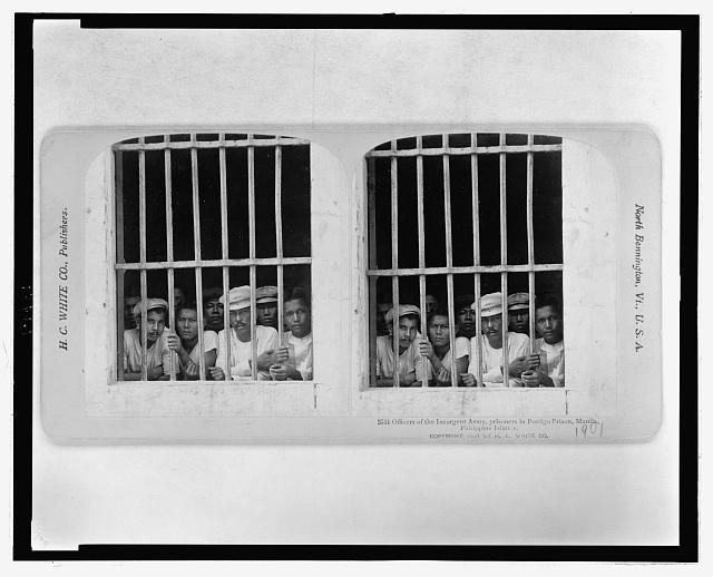 Filipino insurgents fought American occupation; Officers of the Insurgent Army, prisoners in Postigo Prison, Manila, Philippine Islands] circa 1901, Stenograph Card Collection, Prints and Photographs Division, Library of Congress