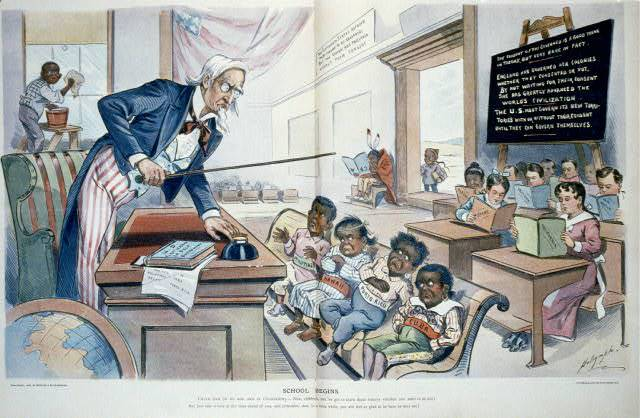 """American occupation of the Philippines and elsewhere was not marked by equality as demonstrated in this 1899 political cartoon; Louis Dairymple, """"School begins / Dalrymple"""", 1899, Prints and Photographs Division, Library of Congress"""