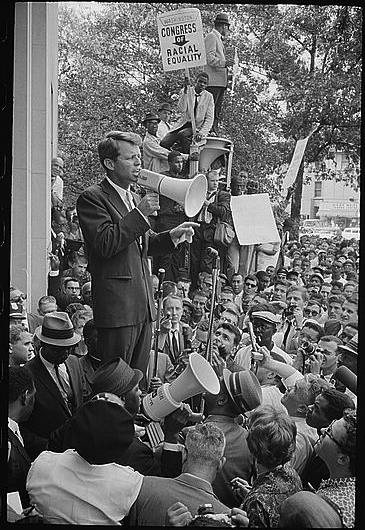 "Warren K. Leffler, ""Negro demonstration in Washington, D.C. Justice Dept. Bobby Kennedy speaking to crowd"", Prints and Photographs Division, Library of Congress"