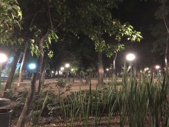 Parque Espana at night; Watch out for PDA it runs rampant in the park after sunset