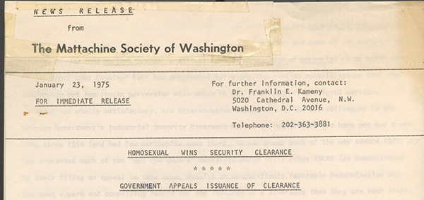A Mattachine Press release: Mattachine Society of Washington, Press release, January 24, 1975,Frank Kameny Papers, Manuscript Division, Library of Congress