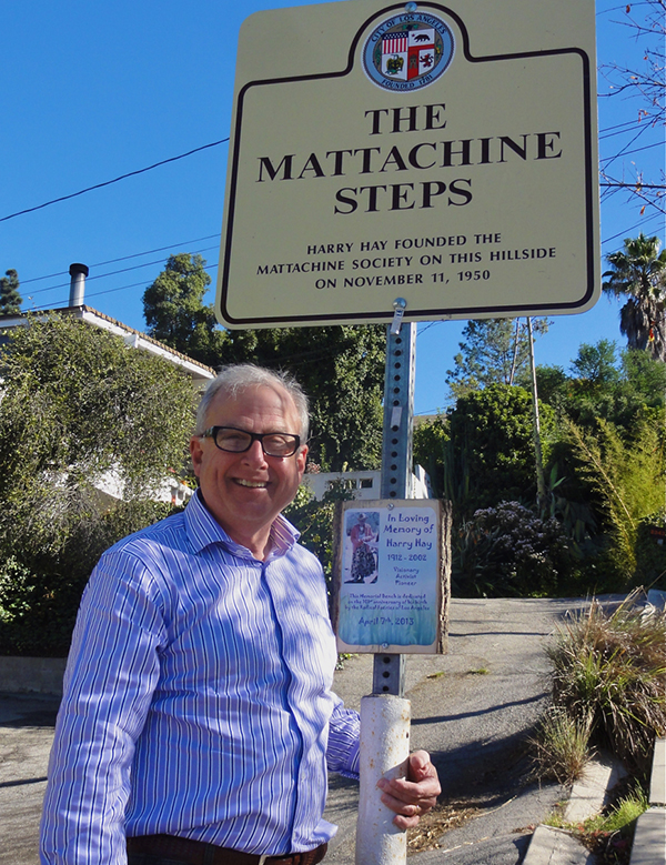 Mattachine Steps landmark: Current MSW President Charles Francis at the Mattachine Steps Landmark in Silver Lake, photo by Stephen Bottum, courtesy of Charles Francis.