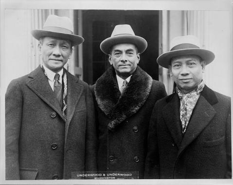 Filipino leaders congratulate President on naming of Governor General Stimson Filipino leaders photographed at the White House today when they called to congratulate President Coolidge on his appointment of Henry L. Stimson as Governor-General of the Islands. Left to right: Sergio Osmena, speaker of the House; Manuel Quezon, president of the Senate; and Pedro Guevara, Resident-Commissioner in Washington; Prints and Photographs Division, Library of Congress