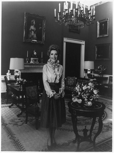 """Not exactly """"besties""""; Nancy Davis Reagan, full-length portrait, standing, facing front, in the White House, 1979, Prints and Photographs Division, Library of Congress"""