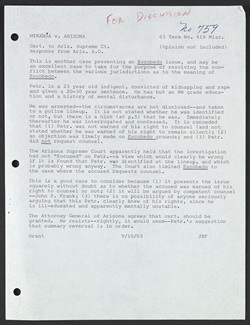 Jerome B. Falk, Cert. Memo: Miranda v. Arizona to Arizona Supreme Court, September 10, 1965 William O. Douglas Papers, Manuscript Division, Library of Congress