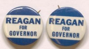 """Reagan for Governor"" pins from the David S. Broder Papers, Manuscript Division, Library of Congress."