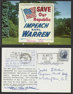 "Postcard, ""Save Our Republic: Impeach Earl Warren,"", October 17, 1966, Hugo L. Black Papers, Manuscript Division, Library of Congress"