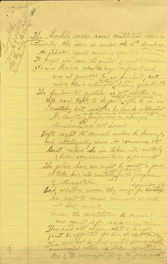 Earl Warren, Handwritten notes concerning the Miranda v. Arizona, 1966, Earl Warren Papers, Manuscript Division, Library of Congress