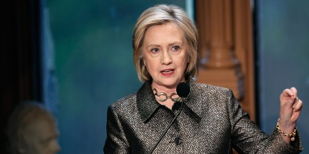 WASHINGTON, DC - APRIL 22: Democratic presidential candidate and former U.S. Secretary of State Hillary Clinton delivers remarks at the Hillary Rodham Clinton Awards for Advancing Women in Peace and Security at Georgetown University April 22, 2015 in Washington, DC. The awards were given to former United Nations Envoy for Afghanistan Staffan de Mistura, and Dr. Miriam Coronel-Ferrer, who served as the Chief Negotiator of the Philippines Government in the Mindanao Peace Talks. (Photo by Win McNamee/Getty Images)