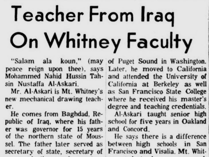 teacher from iraq on whitney faculty